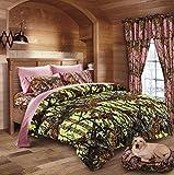 20 Lakes Neon Green Lime & Pink Camo Comforter, Sheet, Pillowcase Set (Full, Neon Green - Pink)