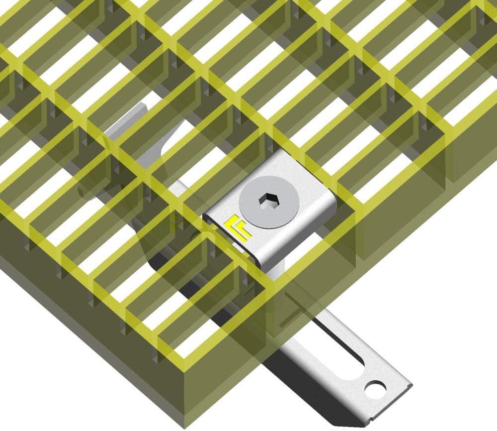 Rosth/öhe bis 40mm vormontiert 20 Satz ARNELL Gitterrostbefestigung 101158 Komplett-Satz f/ür Gitterrost Masche 30x10 feuerverzinkt