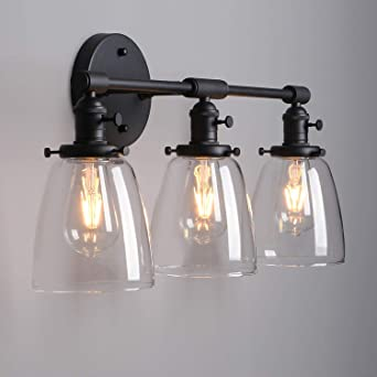 huge selection of 334bb 33291 BAYCHEER Vintage 3 Lights Wall Light with Clear Glass Shade ...