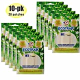 10-Pk Ecotrap Guard 84hr Insect Patch (20pcs) Natural Organic Waterproof Sweatproof Deet Free B1 Protection Mosquito Bed Bug Tick No See Um NoSeeUm No-See-Um Repellent Bracelet Sticker Kids Baby Safe