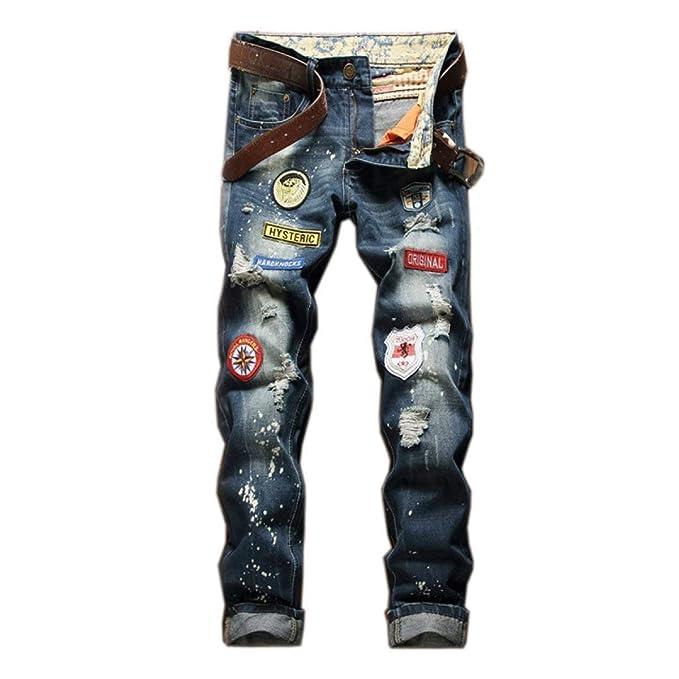 Ropa y Fashion De Hombres Cintura Denim Sin Jeans Amazon Los Rasgada Recta Lannister Agujeros Mediana es Retro Skinny De Estrías De Mortero Pantalones XAw1B1x