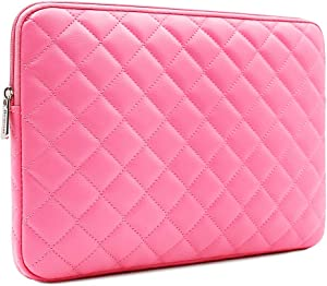 RAINYEAR 15 inch Laptop Sleeve Diamond PU Leather Case Protective Shockproof Water Resistant Zipper Cover Carrying Bag Compatible with 15.4 MacBook Pro/Retina/Touch Bar(Rose Red)