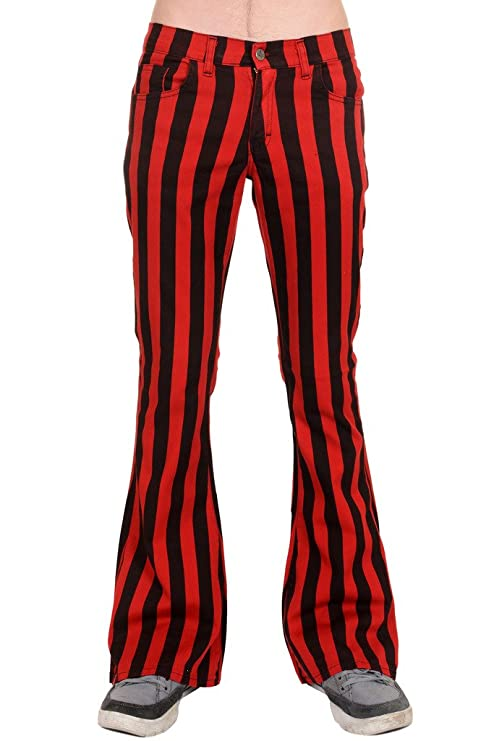60s – 70s Mens Bell Bottom Jeans, Flares, Disco Pants Run & Fly Mens 60s 70s Retro Vintage Black Red Striped Stretch Bellbottom Super Flares $49.95 AT vintagedancer.com