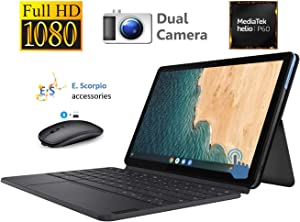 "Lenovo Chromebook Duet, 2-in-1, 10.1"" WUXGA (1920 x 1200) Display, 4GB LPDDR4X RAM, 128GB eMCP SSDMediaTek Helio P60T, Integrated ARM G72 MP3 Graphics, Chrome OS, Ice Blue + Iron Grey with ES Bundle"