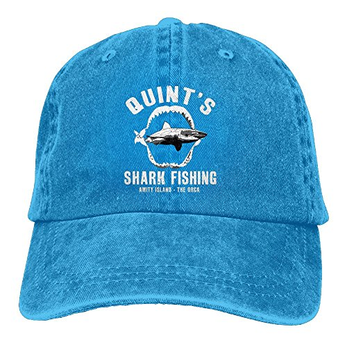 (Quint's Shark Fishing Denim Hat Adjustable Men's Plain Baseball Hats)
