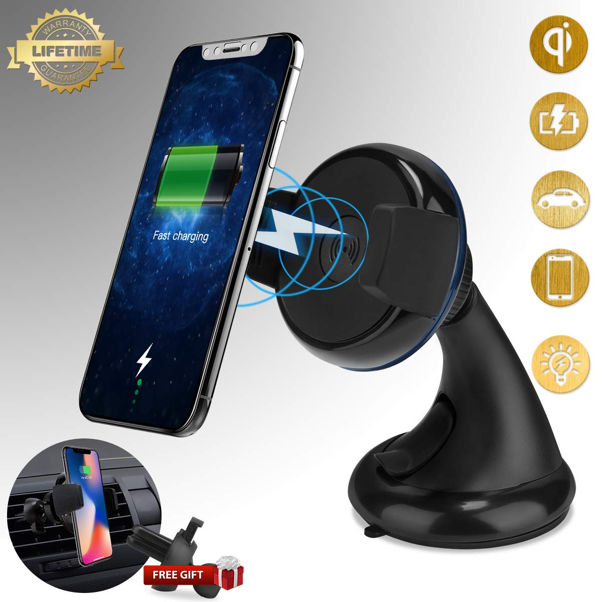 Wireless Car Charger, Adorve Car Phone Mount Holder Air Vent Phone Holder, Windshield Mount, Dual USB Port Car Fast Charger Adapter Compatible with iPhone Xs 8 Plus Samsung S9 All Qi-Enable