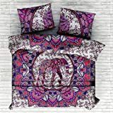 Indian Elephant Purple Mandala Comforter Queen Quilt Cover Set Cotton Handmade By Sugun Creation Full Size (80x82 inches)