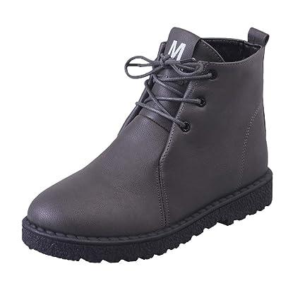 MYMYG Botas Plano de Mujer con Cordones Botines Zapatos clásicos de Martain de Invierno de otoño Sneakers Ajustado para Mujeres con Estilo Botines: ...