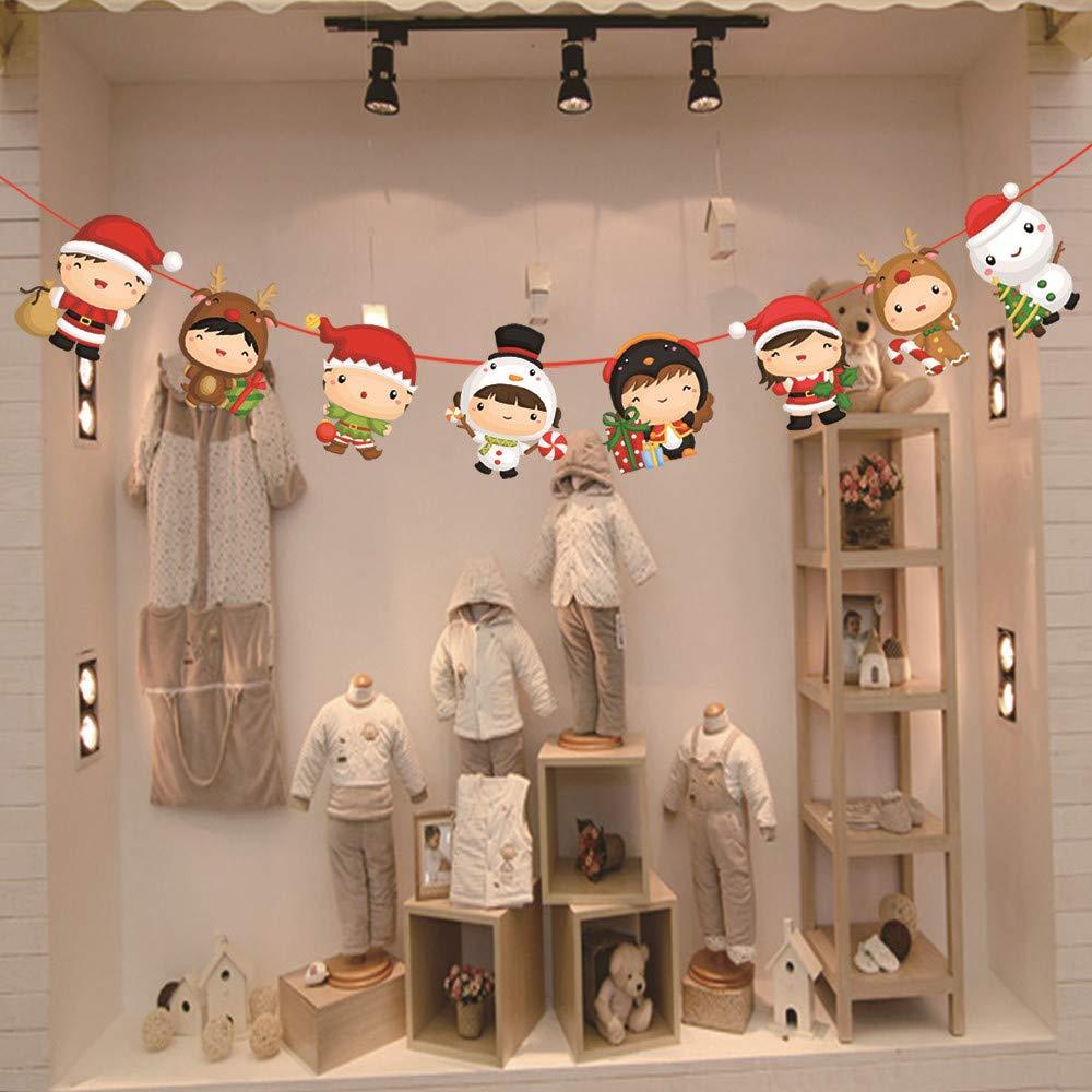 Euone 装飾フラワー クリスマスペーパーガーランド ひも 吊り下げ 一年パーティー装飾   B07JKP4XYC