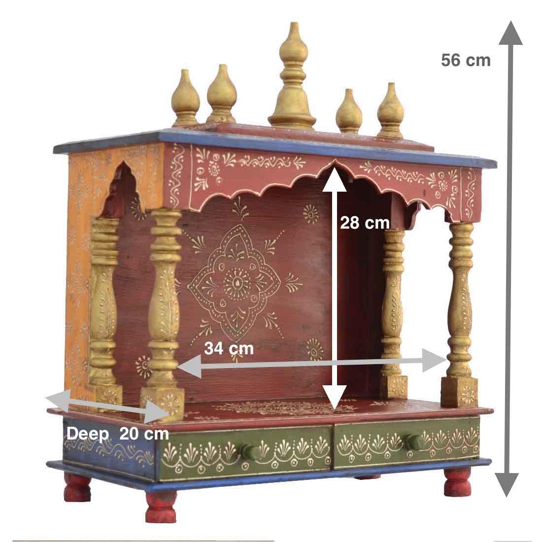 Amazon.com: Wooden Temple/ Home Temple/ Pooja Mandir/ Pooja Mandap/ Temple  For Home JORD702: Home U0026 Kitchen