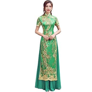 6cc6002bd21e7 (福丸) チャイナドレス ロング アオザイ ベトナム スパコール 刺繍 チャイナ服 ワンピース シフォン 結婚式