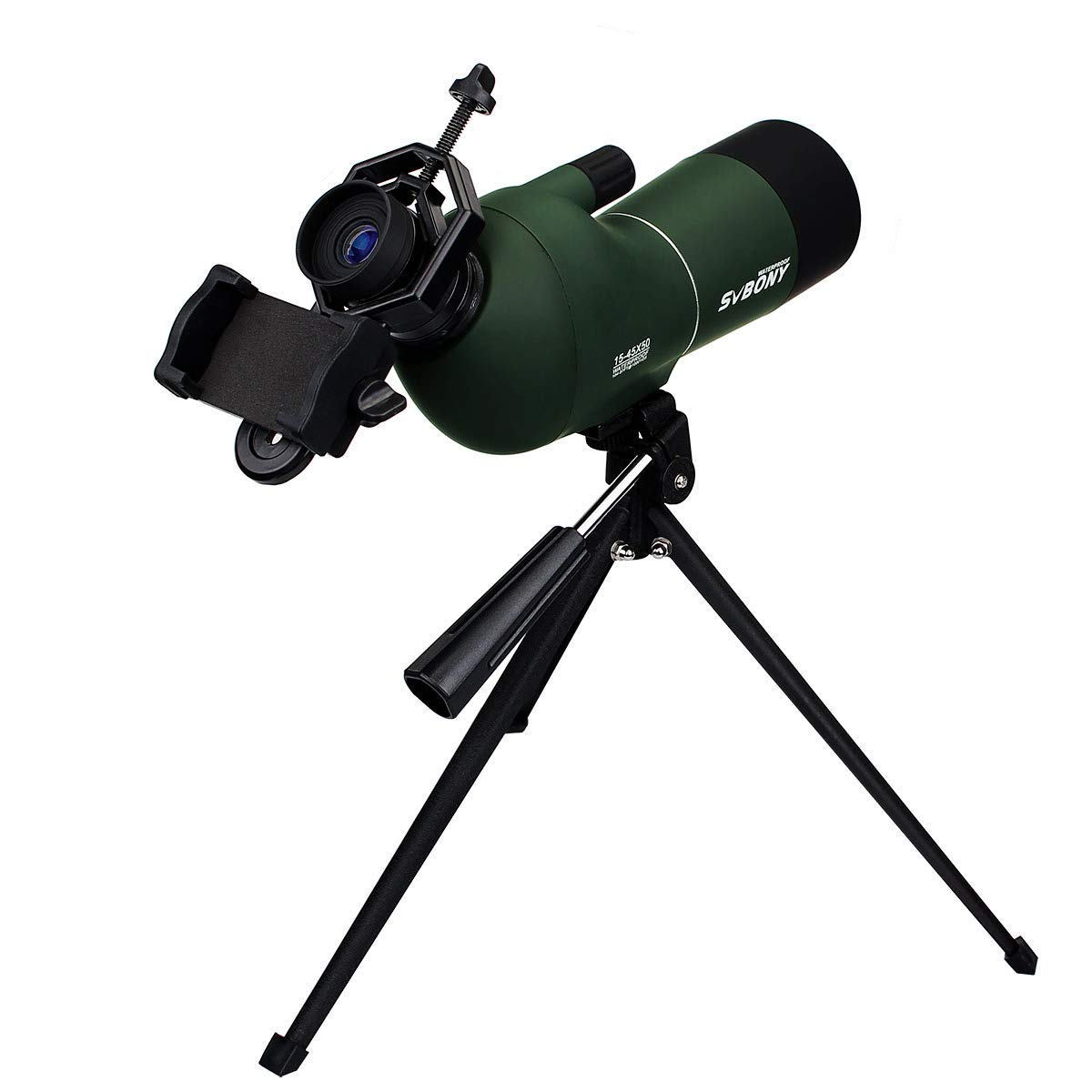 SVBONY SV28 Spotting Scope 15-45x50mm Waterproof Angled Zoom Spotting Scopes for Target Shooting Bird Watching Archery Hunting with Tripod and Phone Adapter