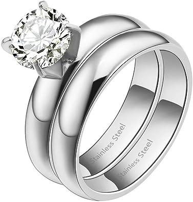 Amazon.com: Lavencious - 2 anillos de compromiso de acero ...