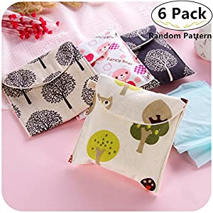 6 Pack Sanitary Napkins Holder Bags, Magnolora Menstrual Cup Pouches Nursing Pads Holder Bags Storage Organizer for Menstrual Pads Sanitary Napkin Maternity Mama Pads