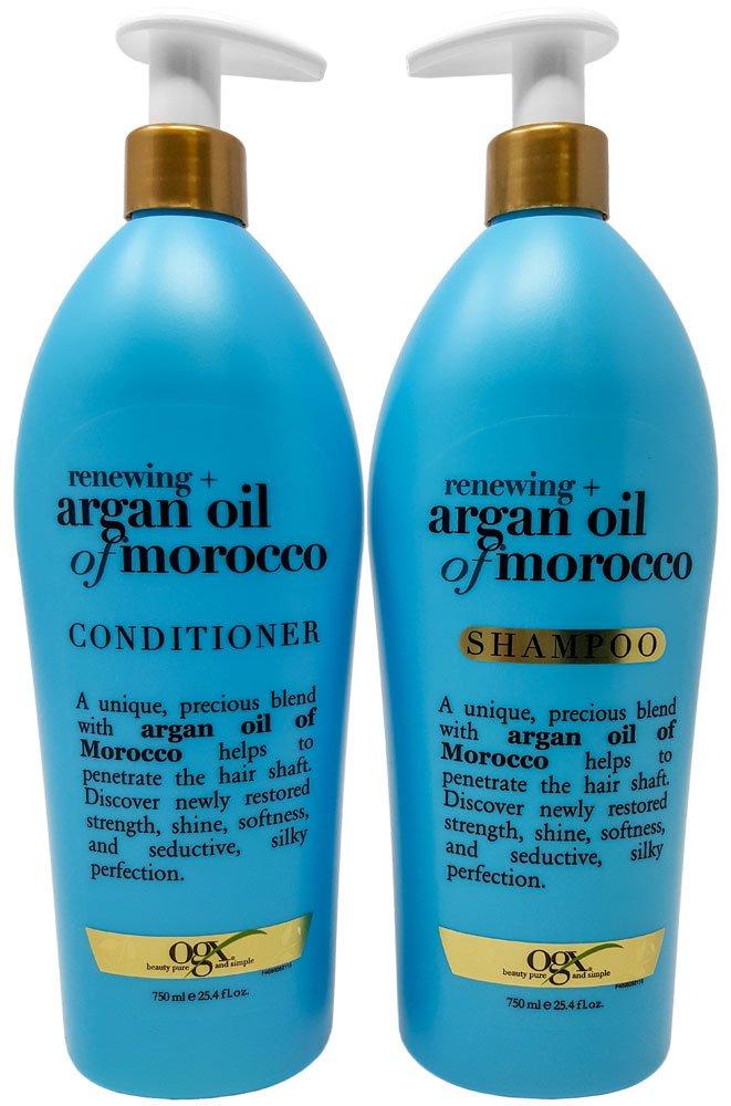OGX Renewing Moroccan Argan Oil Shampoo and Conditioner Pump Bottle Salon Size Set (2 x 25.4 Oz) by Assortit