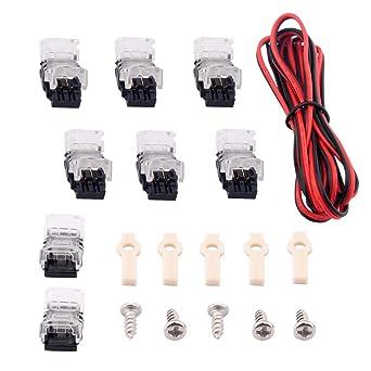 Brightfour Conectores de tira de LED 2 clavijas - 3528 tira ligera (8 mm) El kit de extensión incluye cable sin soldadura ...