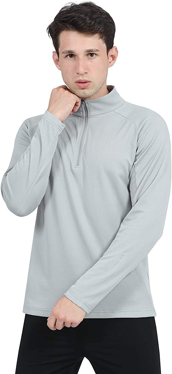 DISHANG Men's 1/4 Zip Pullover Running Shirts Long Sleeved Quick Dry Performance Casual Workout Shirts