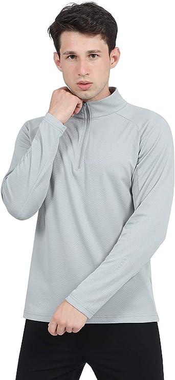 DISHANG Camisas para Correr con Jersey De 1/4 Cremallera para ...