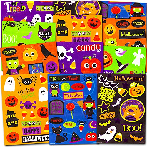 Halloween Stickers Party Pack (Over 300 Halloween Stickers, 24 Party Favors Sheets)