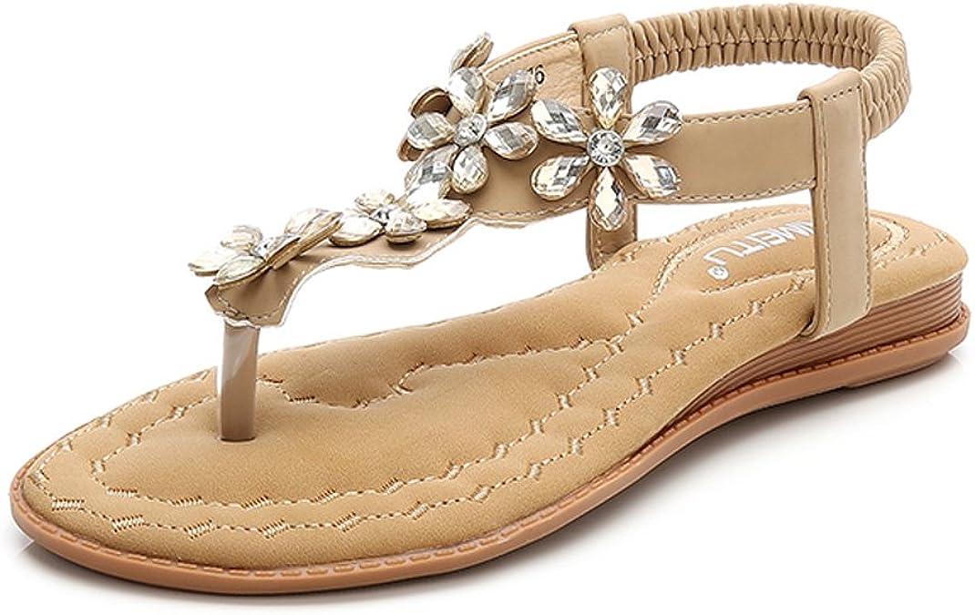 gracosy Sandales Femmes Plates Chaussures Sandales en Cuir PU Nu Pieds /Ét/é /à Talon Compens/é Claquette Plage Semelle Confortables Bride Cheville Soir/ée /Él/égance Strass Bijoux Noir