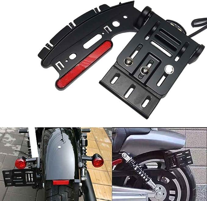 Silver B Blesiya Rear Tail Light License Plate Mount Bracket Heavy Duty Rear Number Plate Bracket Holder for Harley Sportster XL 883 1200 48
