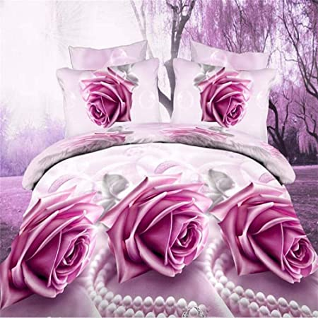 THEE 4pcs 3D Fleur Imprim/é Literie Housse de Couette Parure de Lit Queen
