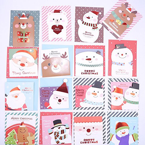 Merry Christmas Greeting Cards, Lovely Cartoon Creative Design / Mini Gift Greeting Cards - 16 Cards & Envelopes, Best Gift Cards for Kids, Families, Friends, Colleague (Kids Designs For Christmas Card)