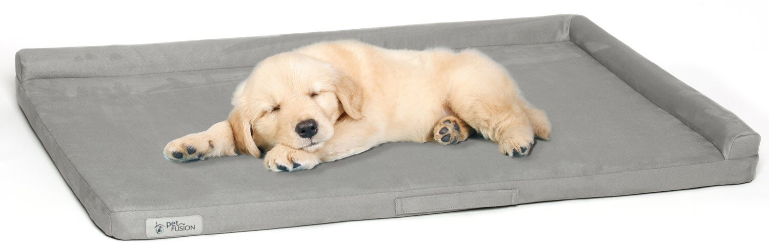 PetFusion Puppy Choice Dog Crate Bed 36 inch with Waterproof solid foam liner & removable washable cover (35 x 22). Comfortable microsuede cover