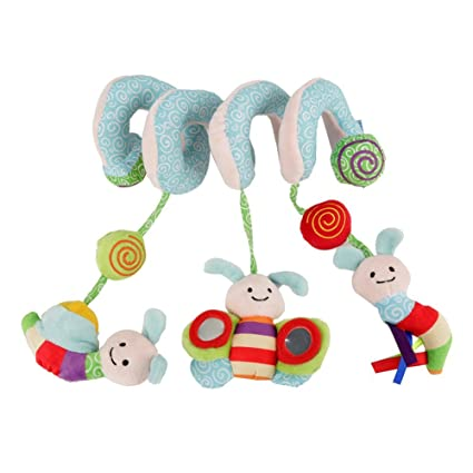 Cochecito con clip en espiral y silla de paseo para bebé, juguete para colgar en