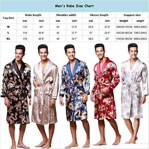 YUAKOU Men s Short Kimono Robes Chinese Dragon and Phoenix ... a172b9b44