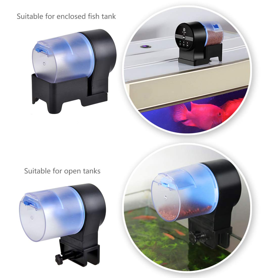 Iseebiz Automatic Tank Feeder Koi Goldfish Feeder Aquariums Moisture-Proof Intelligent Timing Feeding Machine, 2 Fish Food Dispenser. by Iseebiz (Image #2)