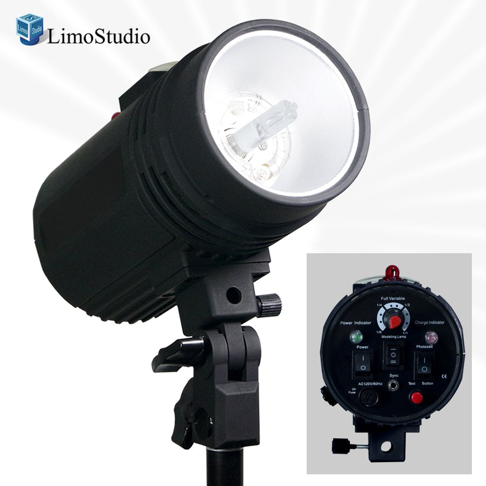 LimoStudio Flash Strobe Light 200 Watt, Sync Cord, Fuse, Test Button, Wireless Triggering Available, Umbrella Input, Mount on Light Stand, Professional Photography Use, Photo Studio, AGG2485