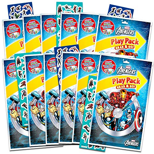 Marvel Avengers Party Favors Pack ~ Bundle of 12 Avengers Play Packs with Stickers, Coloring Books, and Crayons with Bonus Stickers (Avengers Party Supplies) ()