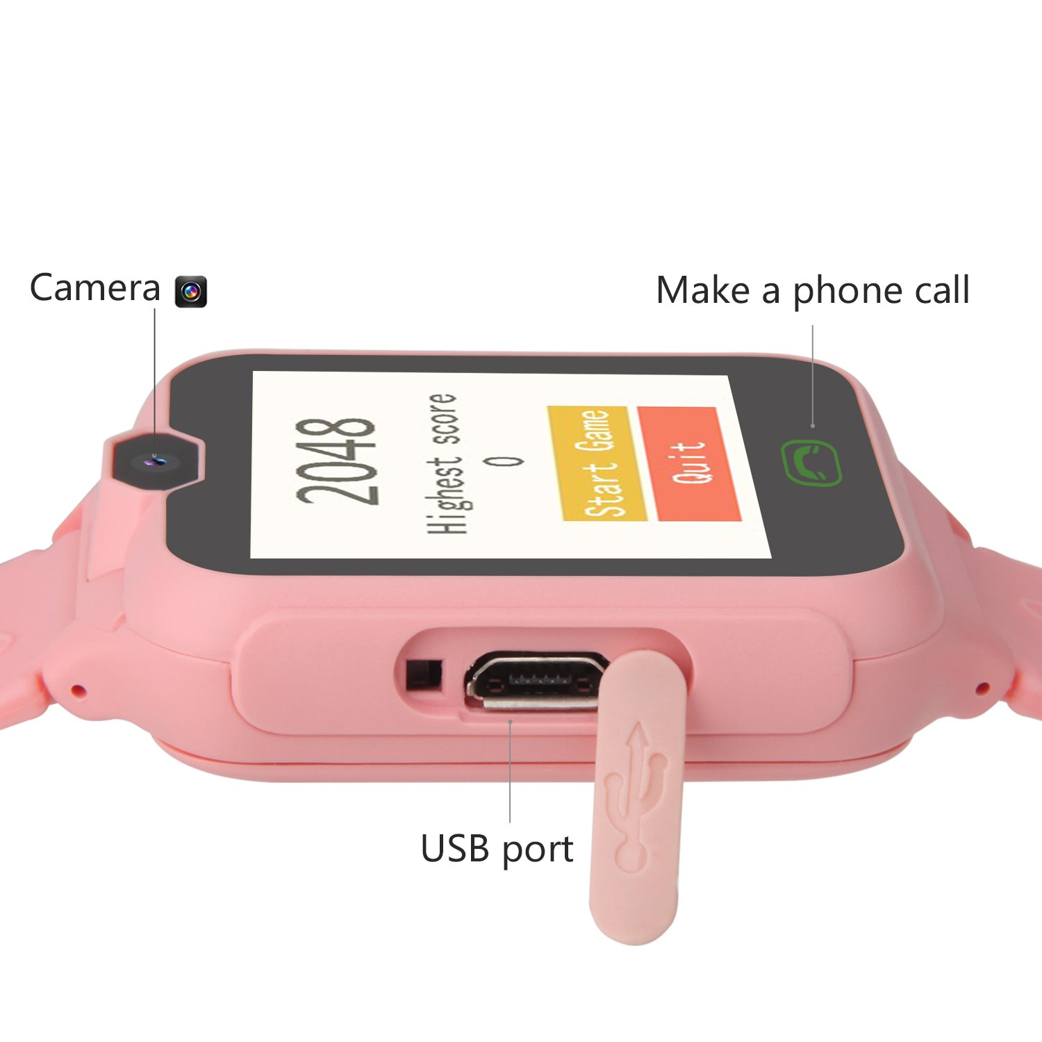 HSX_Z Phone Watch for Kids Smart Watch for Kids with Digital Camera Touch Screen, Phone Game Cool Toys Watch Gifts for Girls Boys Children Birthday Gifts Watch£­Pink by HSX_Z (Image #2)