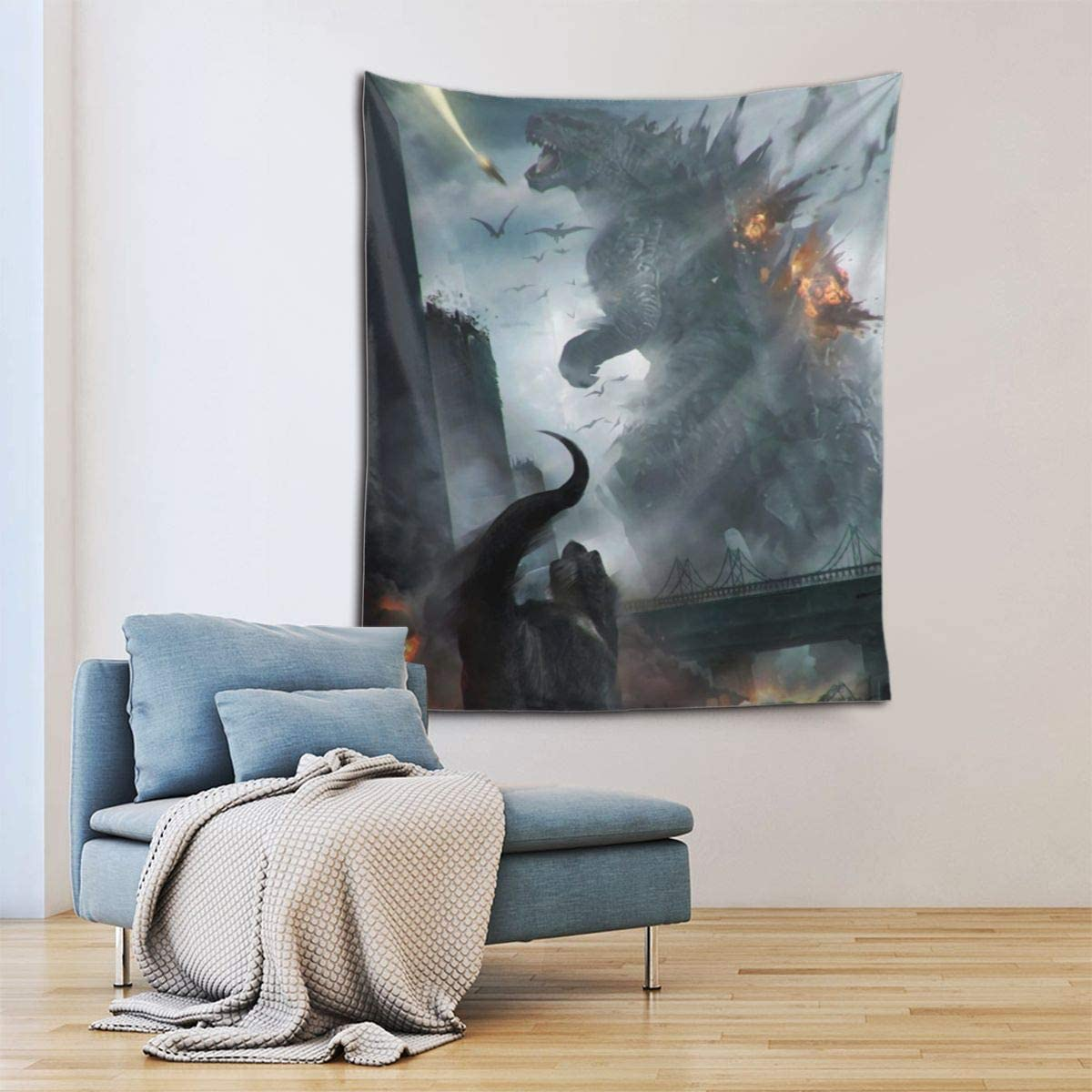 Little Monster Godzilla Attack Tyrannosaurus Rex Prints Tapestries Artwork Wall Blanket Tapestry Wall Hanging Wall Art Poster for Dinning Room Party Modern Wall Decor 90x60in 229x152cm