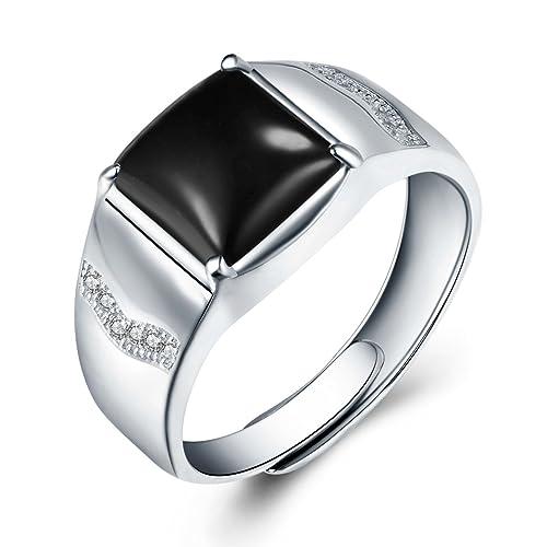 JiangXin Lujoso ajustable Hombre Anillos plata de ley 925 Ágata negra Compromiso Sólido San valentin Amor