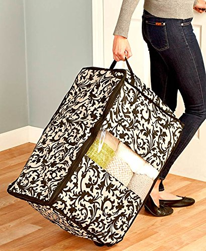 Stylish See Through Multipurpose Rolling Seasonal Decoration Out of Season clothing Storage (damask)