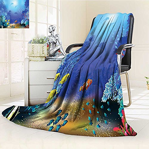 YOYI-HOME Digital Printing Duplex Printed Blanket Ocean Underwater Coral Reef Polyps Algae Dolphins and Goldfishes Bubbles Deep Print Blue Summer Quilt Comforter /W31.5 x H47 (Coral Polyp Star)