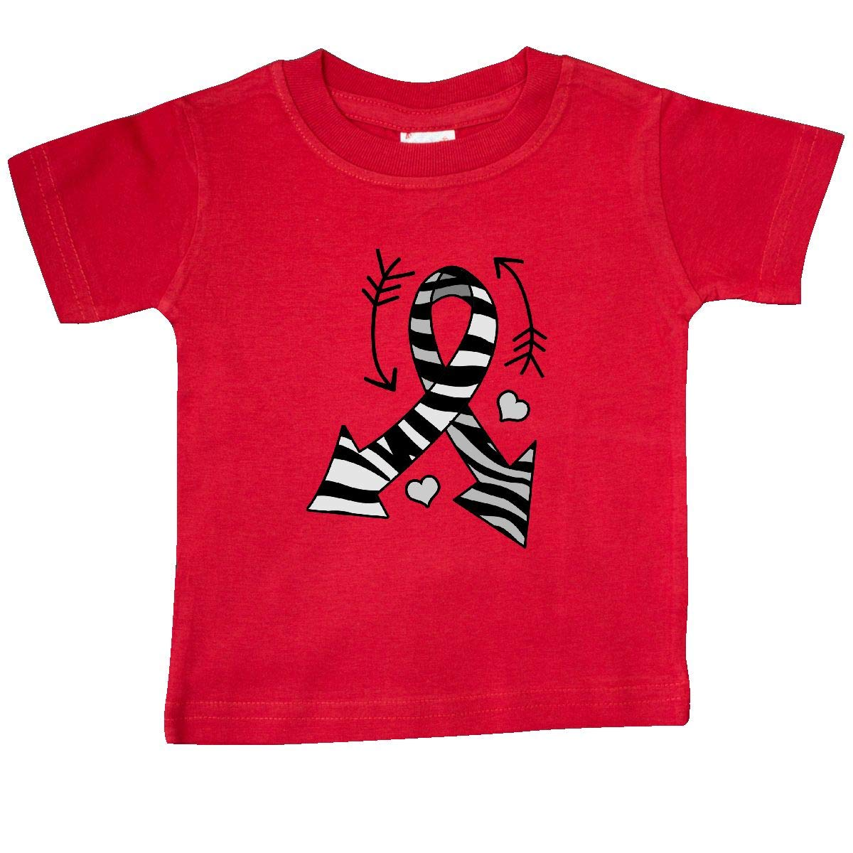 inktastic Zebra Ribbon with Arrows for Carcinoid Cancer Awareness Baby T-Shirt