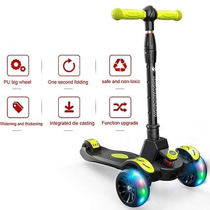 Patinete Para Niños Stunt Scooter Kick Scooter Ruedas Iluminadas Con Luces LED Monopatín Scooter Plegable Capacidad