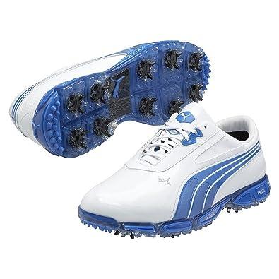 3e7dd351eec394 Puma Golf AW13 Mens AMP Cell Fusion SL Golf Shoes - White Brilliant Blue -  UK 11  Amazon.co.uk  Shoes   Bags