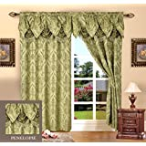 Elegant Comfort Penelopie Jacquard Look Curtain Panels, 54 by 84-Inch, Sage Green, Set of 2