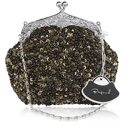 Bagood Women's Vintage Evening Bags Clutches Purses Handbag Shoulder Bag Seed Beaded Sequin Flower for Wedding Bridal Prom Party Grey Ore