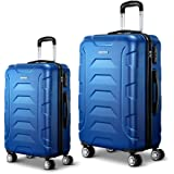 Wanderlite 2 Pcs Lightweight Luggage Hard Suitcases and Scale, Blue