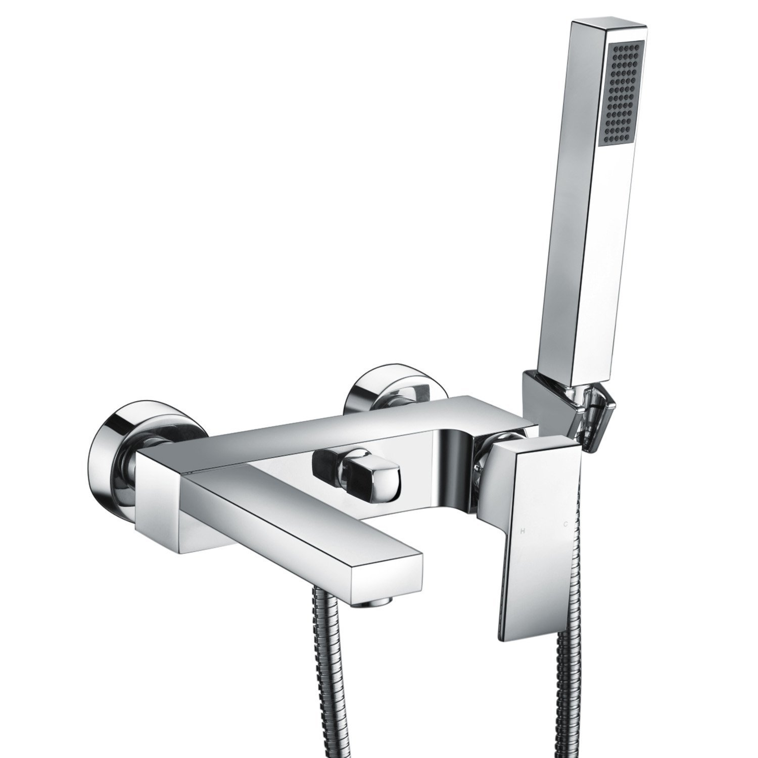 Nt10l Wall Mounted Square Bath Taps with Shower Bathroom Shower Taps Chrome Brass