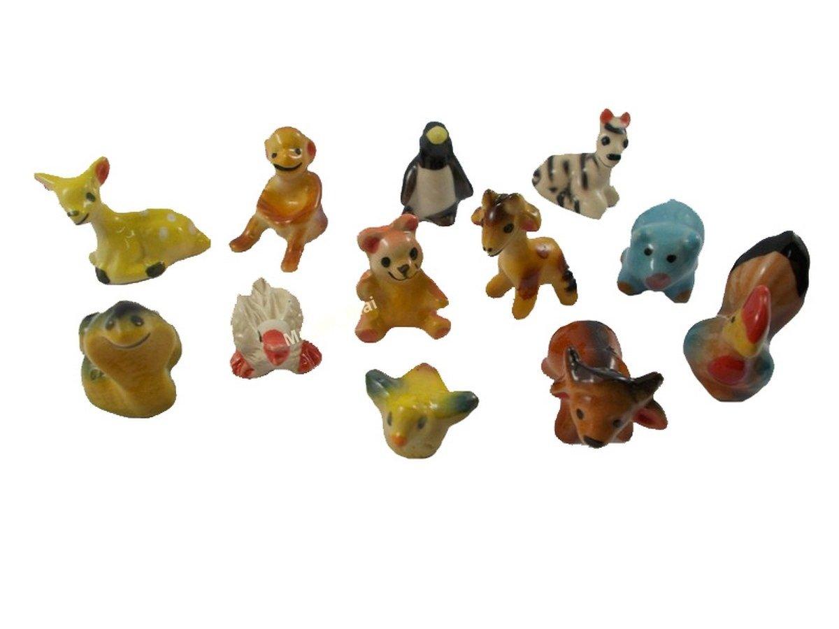 Collection Figurines Animals Painted Ceramic Miniatures Porcelain 12 PC