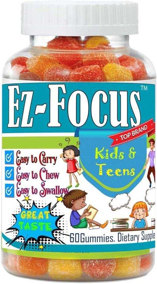 Kids Brain Focus Chewable Gummies Supplements, Attention & Memory Help Formula for Childrens and Teens, Best Great Taste Calming MutliVitamins, Natural Omega DHA, School Study Task Support