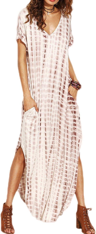 Vestidos Mujer Casual Playa Largos Verano Tie Dye Vestido Boho Hendidura Falda Larga Maxi Vestido Playeros: Amazon.es: Ropa y accesorios