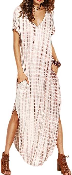 Vestidos Mujer Casual Playa Largos Verano Tie Dye Vestido Boho ...