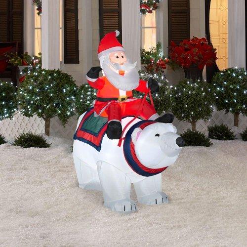 Riding Bear Polar (CHRISTMAS DECORATION LAWN YARD INFLATABLE AIRBLOWN SANTA RIDING A POLAR BEAR 5' TALL)